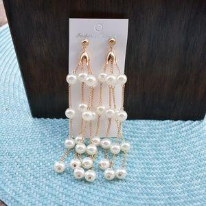 Long Pearl Tassel Earrings